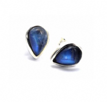 Teardrop Rainbow Moonstone Earrings Silver Stud Large
